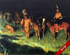 NATIVE AMERICAN INDIANS LIGHTING GRASS FIRES PAINTING ART REAL CANVAS PRINT
