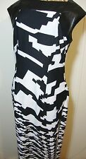 Faux Leather Trim Graphic Design Dress Womens 6