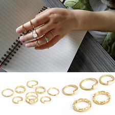Retro Simple Alloy Gold knuckle Stacking Rings Thin White Opal Gem Ring Jewelry