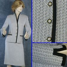 CLASSY ST JOHN COLLECTION KNIT  BLACK/WHITE/LAVENDER JACKET & SKIRT SUIT SZ 8 10