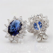18K White Gold Filled Blue Crystal with Cubic Zirconia Stud Post Earrings H034
