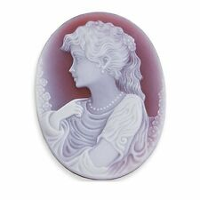 Oval 25 x 18 mm Two-Layer Red Agate Portrait Cameo