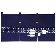 "Japanese 34 x 17"" Indigo Noren Curtain 3-Panel ""Soba- Dogu""/Made in Japan"