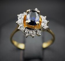 Unique 14k Yellow Gold Oval 0.5ct Sapphire Diamond Halo Ring Size 6.5 RG918