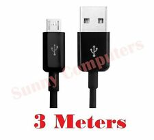 Micro-B USB Data Sync Charge Cable For Samsung Galaxy, HTC, LG, Sony Black 3M