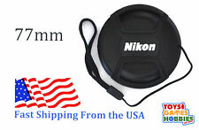 77mm LC-77 Center Snap on Lens cap for NIKON + Leash Directly attached to c