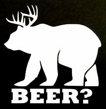 BEER? DECAL BEAR DEAR HUNTING RIFLE CAR SUV TRUCK CHEVY FORD HONDA VW DODGE JDM