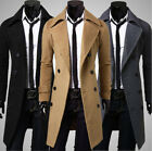 Mens Double Breasted Overcoat Trench Pea Coat Long Slim suit Jacket Blaze MJ25