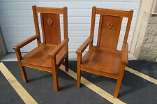 + Pair of Nice Oak Wood Church Chairs, Presider Chairs + (#804) + chalice co.