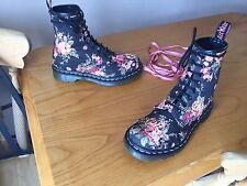 Dr Martens 1460 black canvas victorian floral boots UK 4 EU 37 skin punk goth