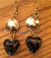 1966 LUCKY PENNY BLACK/GOLD GLASS HEART EARRINGS 50th BIRTHDAY ANNIVERSARY GIFT!