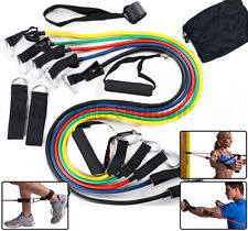 Home Work Out Resistance Bands Kit Set Abs Fitness Yoga Gym Workout Exercise