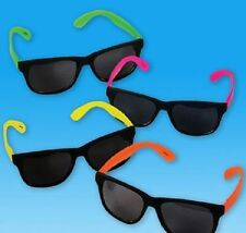 12 Pairs NEON SUNGLASSES 80's Retro Luau Party Favor DJ Giveaway Free Shipping