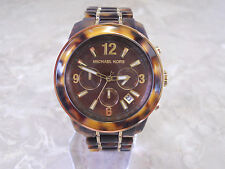 MICHAEL KORS MK5805 CHRONOGRAPH TORTOISE/GOLD TONE LADIES WATCH NIB $295