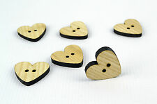 6pcs Large Wooden Buttons 30mm/Heart Shape/Laser Cut/Beads/Sewing/Crafts