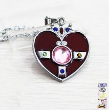 Sailor Moon Heart Brooch Transformation Power Locket Red & Silver Anime Necklace