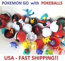 10 Pokemon Go Pokeball Balls + 10 Figures Cake Toppers Party Favor Toy  20 TOTAL