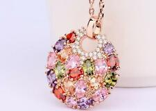 18k Gold Plated Multicolor Swiss Zircon Round Necklace LIMITED QUANTITY
