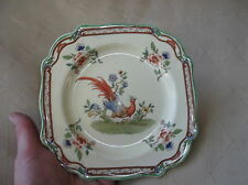 VINTAGE DECO SQUARE SIDE PLATE ROYAL VENTON JOHN STEVENTON EXOTIC BIRD GREEN RIM