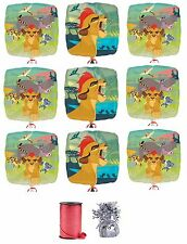"""9x Disney The Lion Guard 18"""" Mylar Balloon w/ Curling Ribbon and Balloon Weight"""