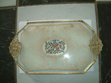 PETIT POINT TRAY  - LACE, FILIGREE HANDLES - ROSE+ OTHER FLOWERS, BLUE RIBBON