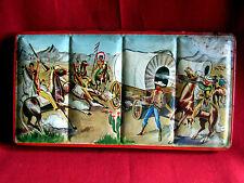 ancienne boite peintures  fer tin paint box decor cow boys indiens années 40 50