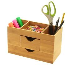 Bamboo Desk Organiser Tidy, Stationery Box Storage