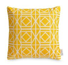 Yellow OUTDOOR Cushion Cover WATERPROOF Geometric Sunny Patio Pillow BRIGHT 16""