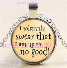 I Solemnly Swear That I Am Up To No Good Cabochon Glass Silver Chain Necklace#D4