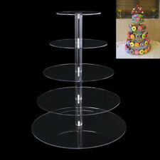 5 Tiers Round Cupcake Stand Crystal Acrylic Wedding Birthday Display Cake Tower