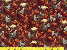Red Roosters & Black & White Chickens on Dk Brown Quilting Fabric by Yard  #708