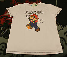 Nintendo Player Super Mario Mens White Printed Short Sleeve T Shirt Size XL New