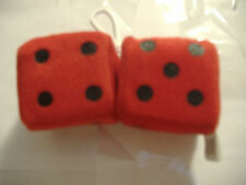 "1 PLUSH FUZZY DICE RED  2"" INCHES HANG ON  YOUR CAR MIRROR"
