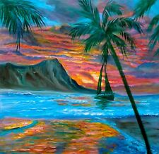 "HAWAII ARTIST SEASCAPE 20""x20"" Oil, Signed ""Cruise Around Diamond Head""Original"