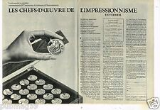 Publicité Advertising 1974 (2 pages) Médailles de l'Impressionisme Le Medailler