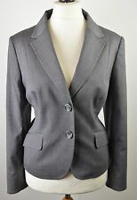 SUPERB women's Jaeger mid grey pinstripe virgin wool blend fitted jacket size 16