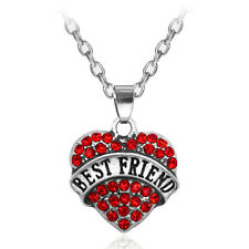 Red Rhinestone BEST FRIEND Love Heart Alloy Pendant Charm Necklace Chain