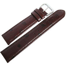 18mm deBeer Mens Brown Ostrich-Grain Leather Watch Band Strap