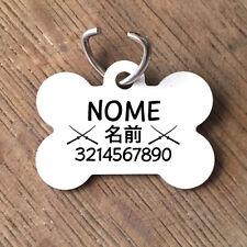 Medaglietta PERSONALIZZATA cane forma di osso NOME giapponese con katana telef.