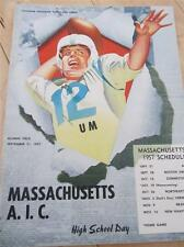 SEPT 21 1957 MASSACHUSETTS VS A.I.C. FOOTBALL PROGRAM ALUMNI FIELD COLLEGE