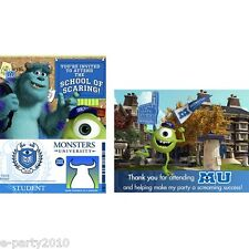 MONSTERS UNIVERSITY INVITATIONS & THANK YOU CARDS (8) ~Birthday Party Supplies