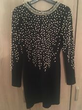 Stunning Pearl Embellished Black Bodycon Dress, ASOS Limited Edition Size 10