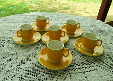 PAGNOSSIN TREVISO ITALY SPECIAL PRODUCTIONS 6 DEMITASSE CUPS & SAUCERS YELLOW