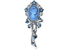 Ali Blue Sapphire AB Crystal Rhinestone Cameo Maiden Ribbon Bow New Brooch