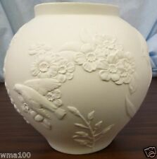 Hutschenreuther Leonard White Powder Coat Porcelain Vase Embossed Flowers Birds
