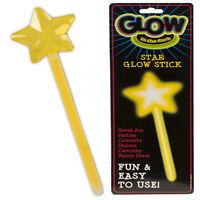GLOW IN THE DARK GLO STAR STICK WAND NEON PARTY FANCY DRESS GLOWING KIDS HEN