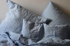 Leinen Bettwäsche Garnitur, Hellblau, 200x 200 cm, 2 St. 40x 80 cm, stone washed