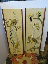"Mid Century SET 2 PEACOCK BIRD PARADISE Pebble GRAVEL Art Wall 36X12"" EAMES ERA"