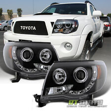 Blk 2005-2011 Toyota Tacoma Halo Projector Headlights+LED Daytime Running Lamps
