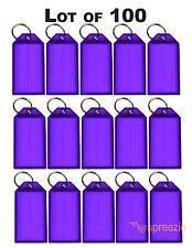 Lot of 100 Key ID Labels Tags Split Key Ring Key Chain Name Tag Click-It Purple